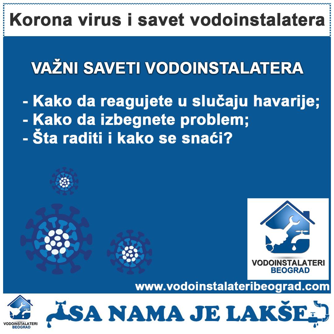 Korona virus - saveti vodoinstalatera