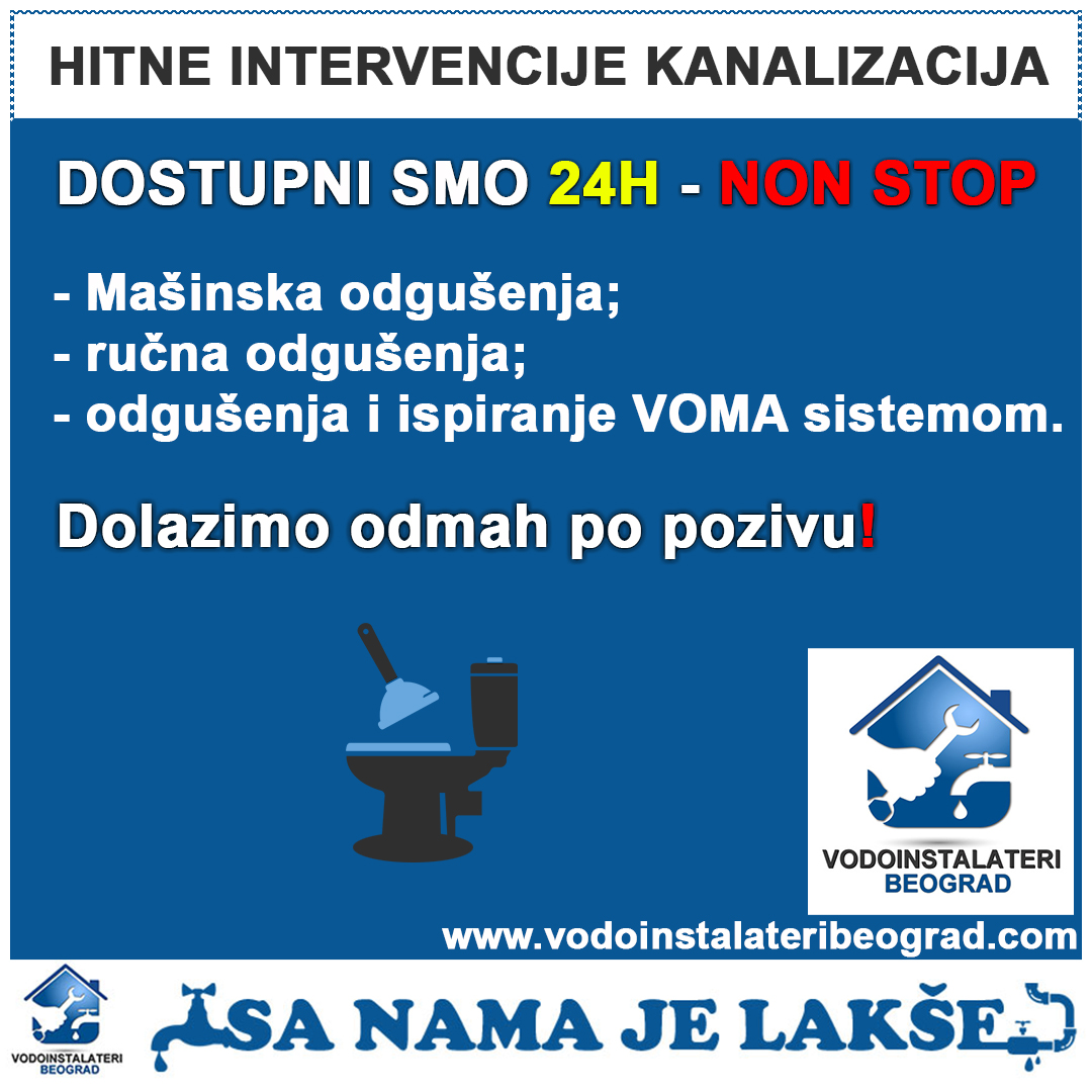 Hitne intervencije kanalizacija - Vodoinstalater Beograd
